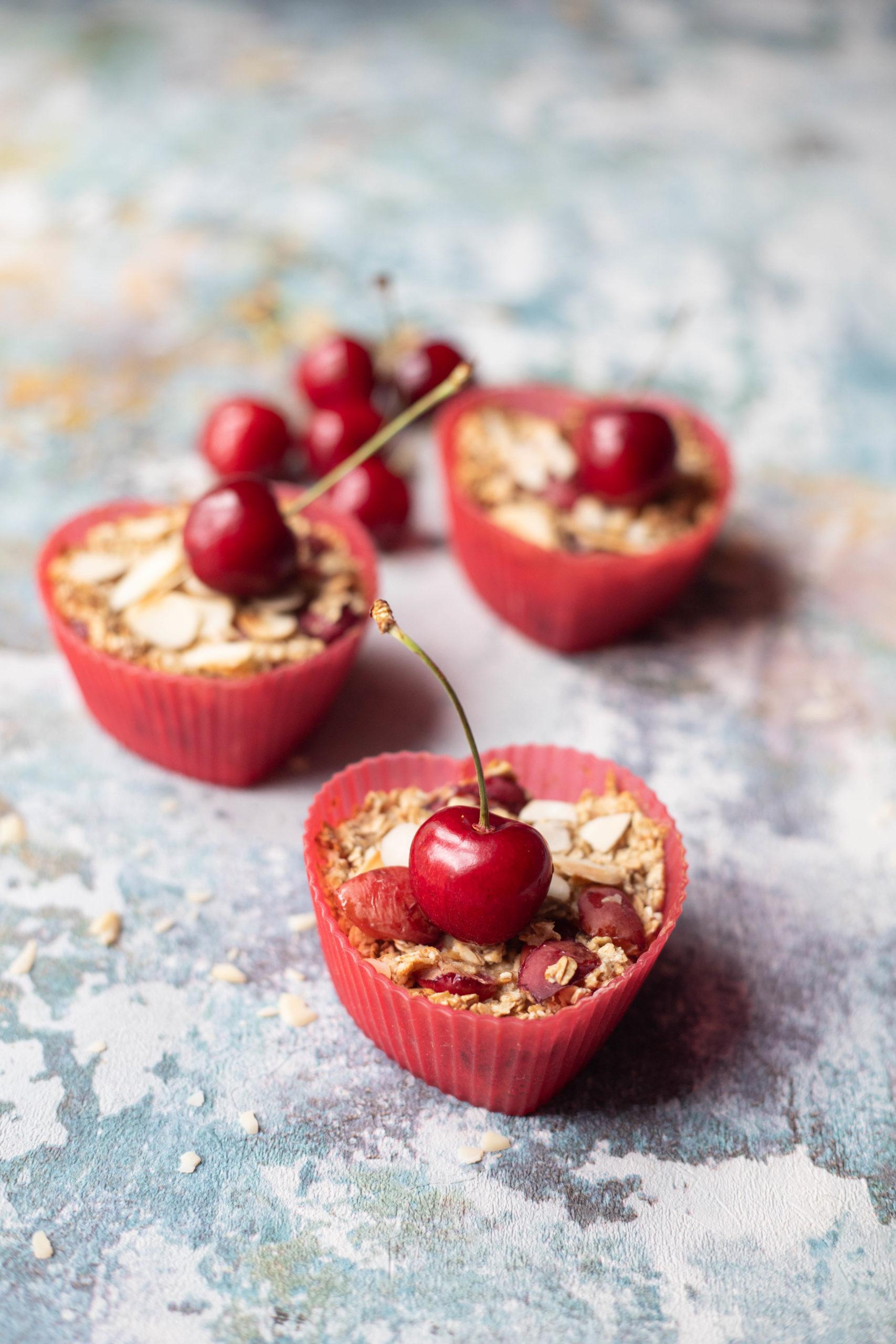 Cherry Bakewell Oats Muffins