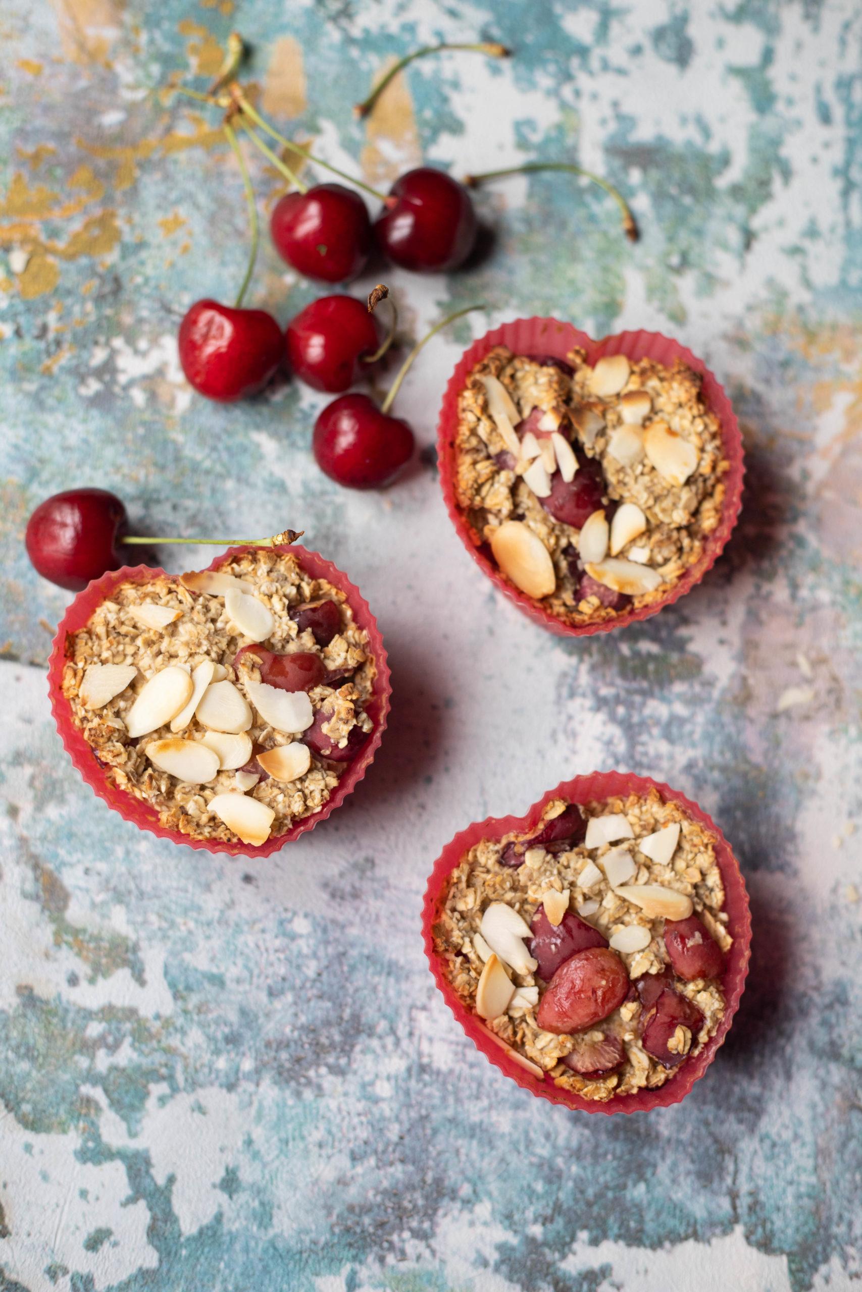 cherry bakewell oats muffin recipe