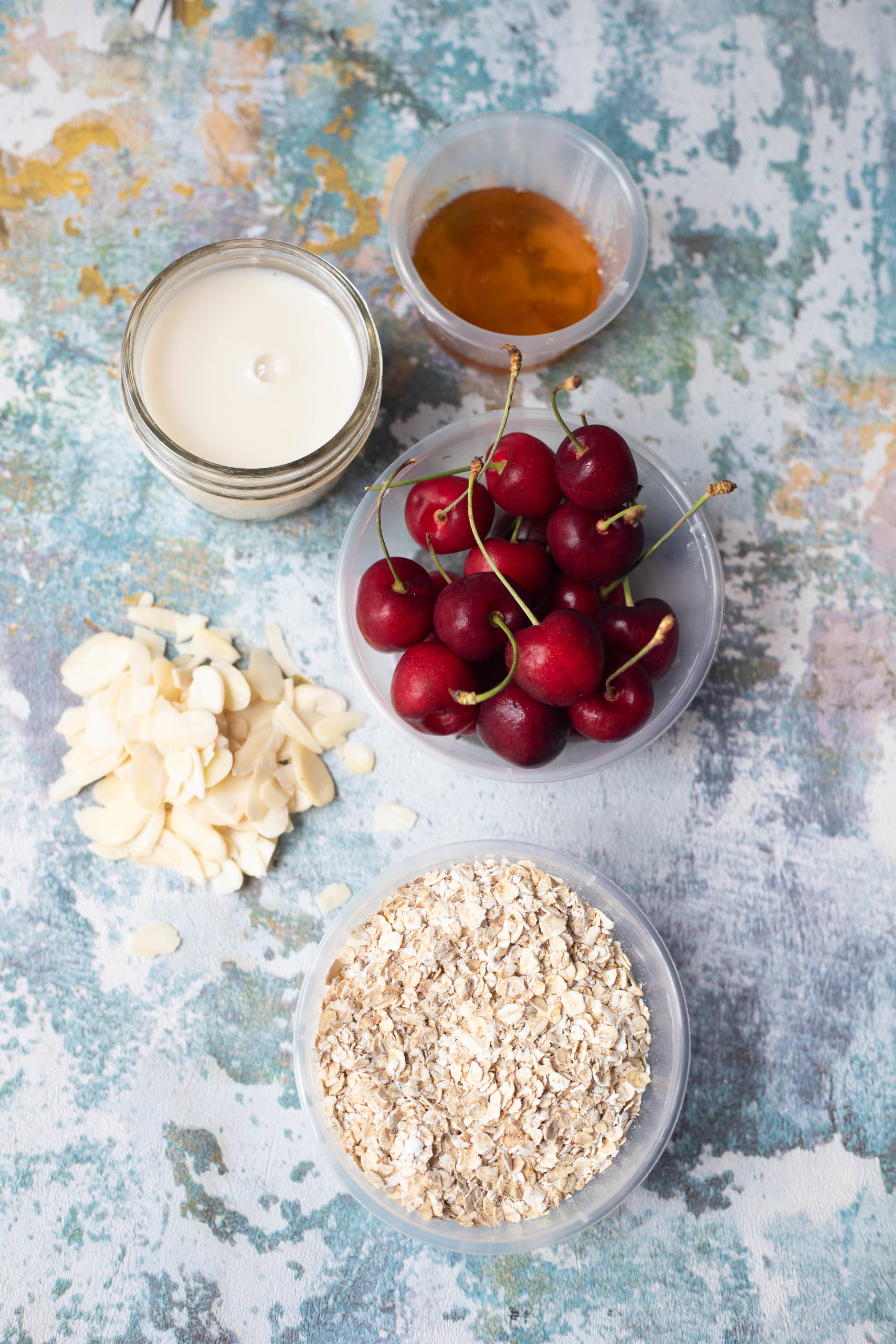 Ingredients for bakewell Cherry Oats muffins