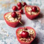 cherry bakewell oats breakfast muffins
