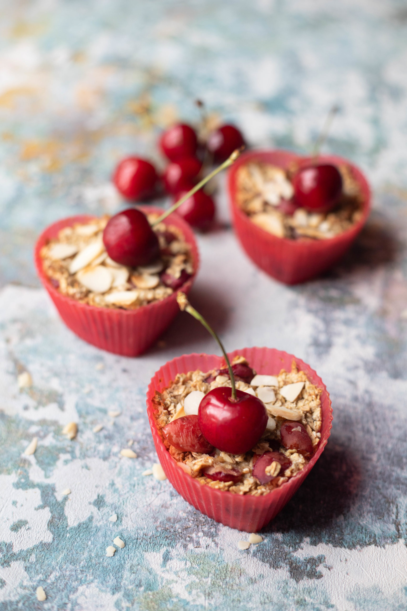 cherry bakewell oats breakfast muffins