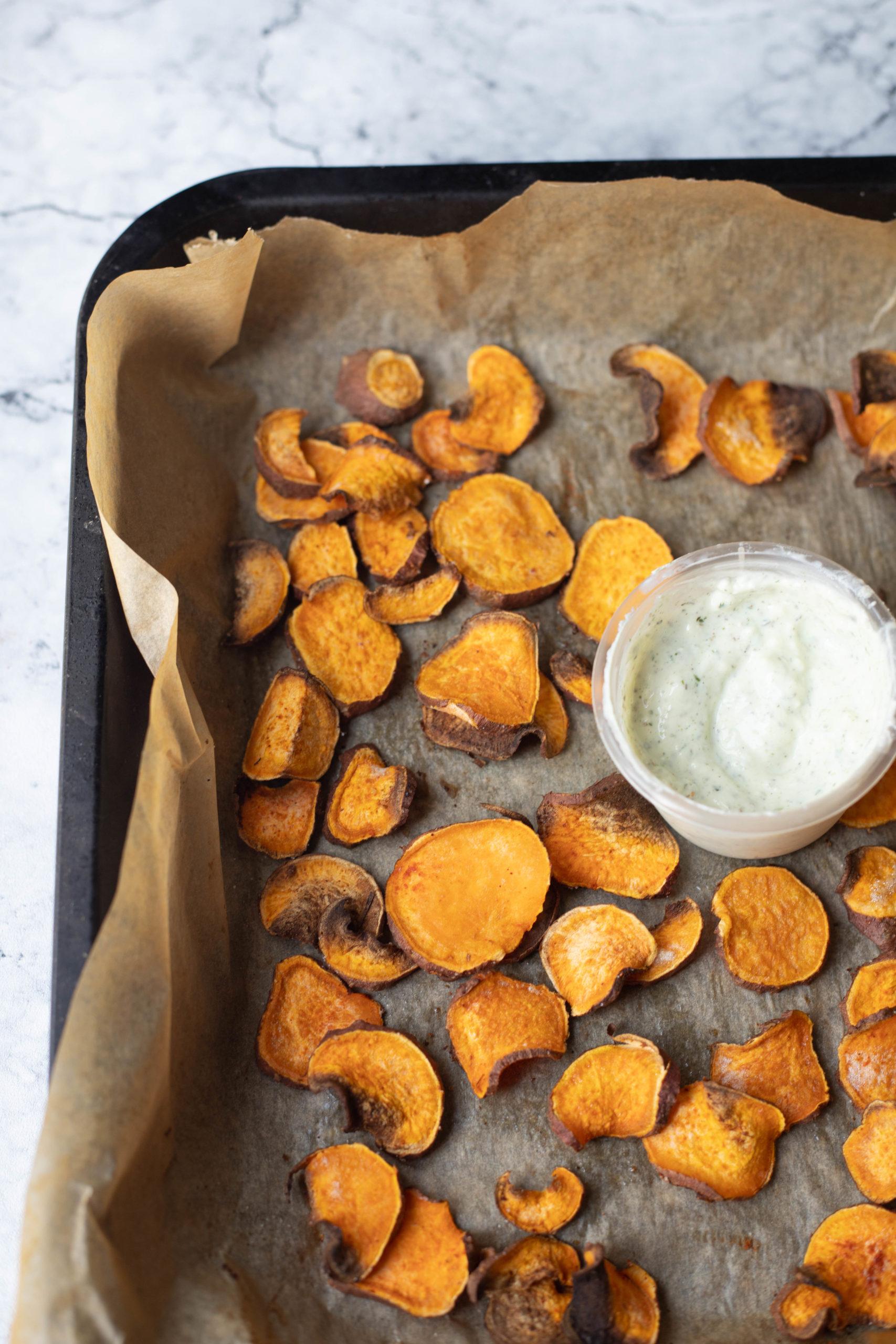 healthy crispy sweet potato chips