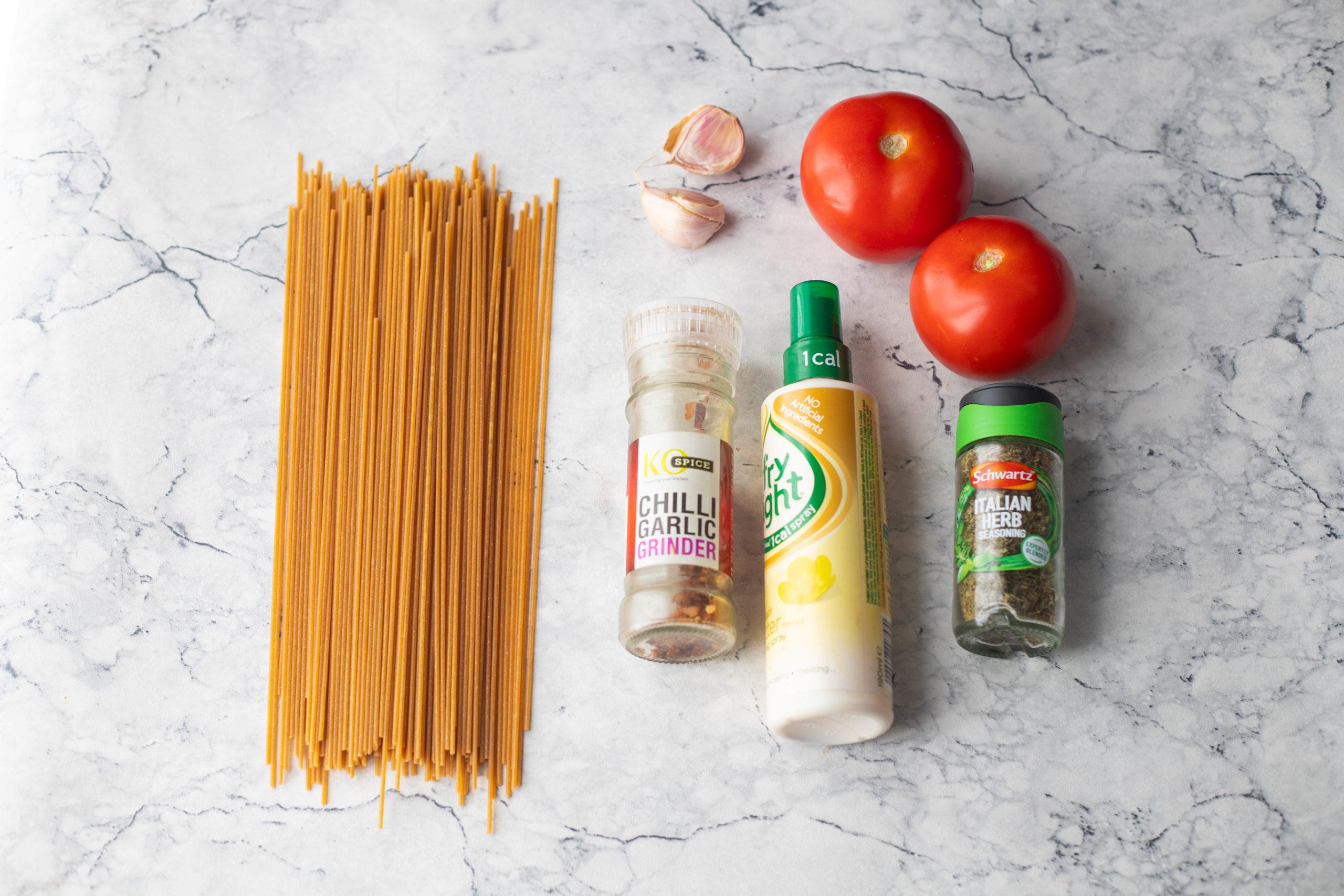 Ingredients for Roasted garlic tomato pasta