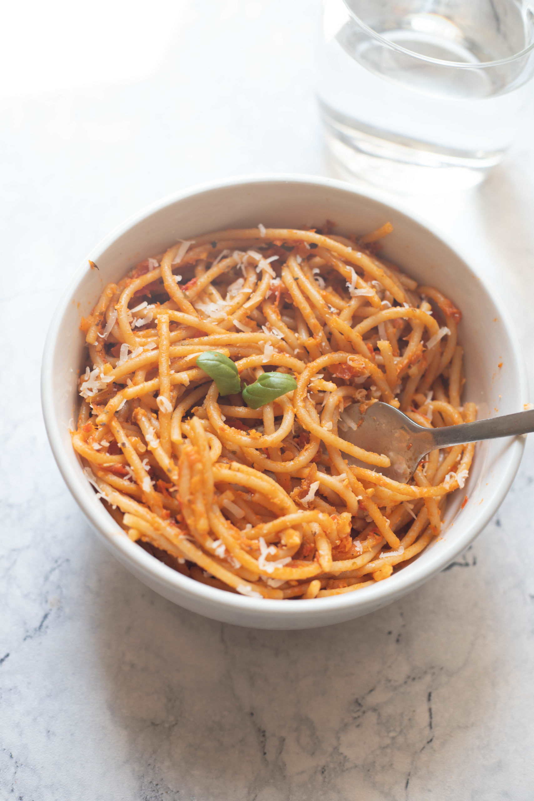 Low Roasted garlic tomato pasta-5