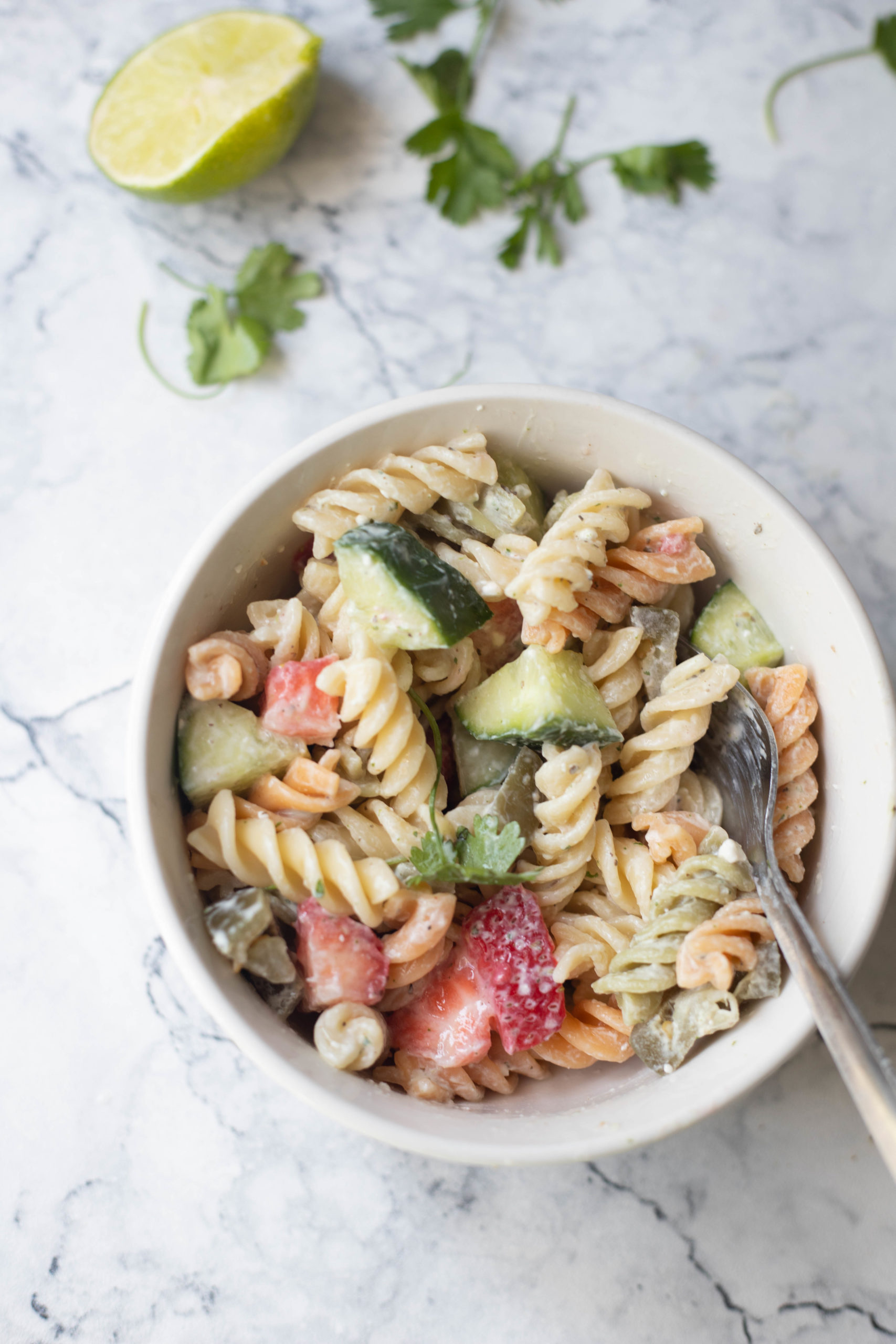 a bowl of low fat pasta salad