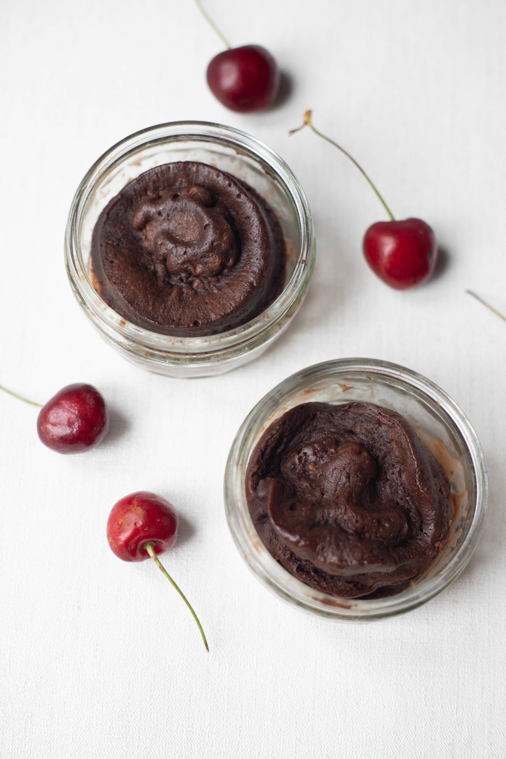 Chocolate cake and cherries
