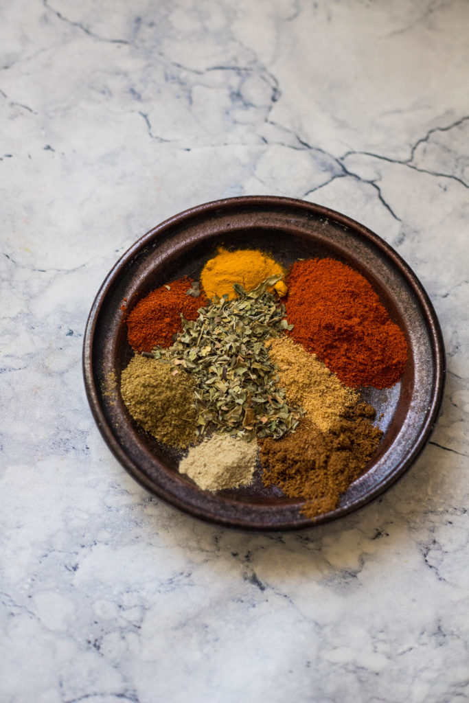 spices for paneer tikka on a plate