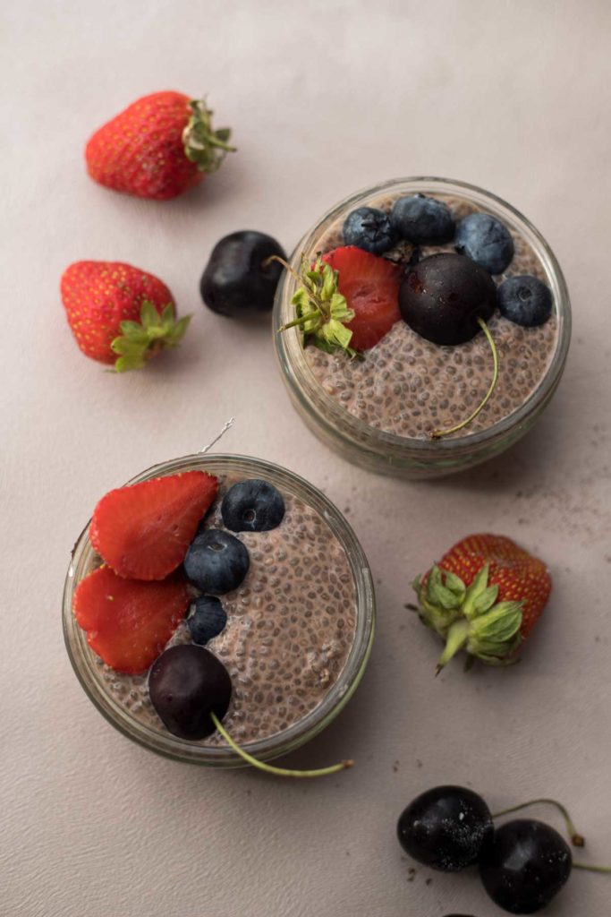 2 Serves of Chocolate Chia Seed Pudding topped  with berries