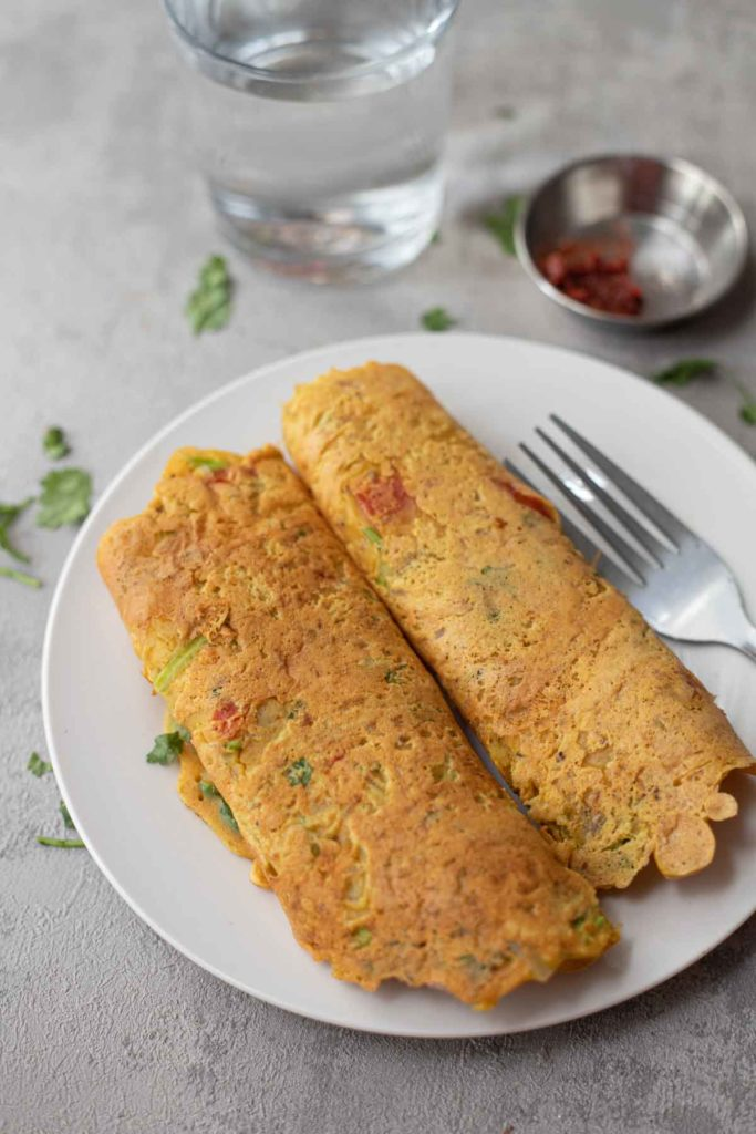 2 vegan chickpea flour omelette served with pickle