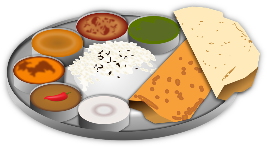 meal plate served with curries
