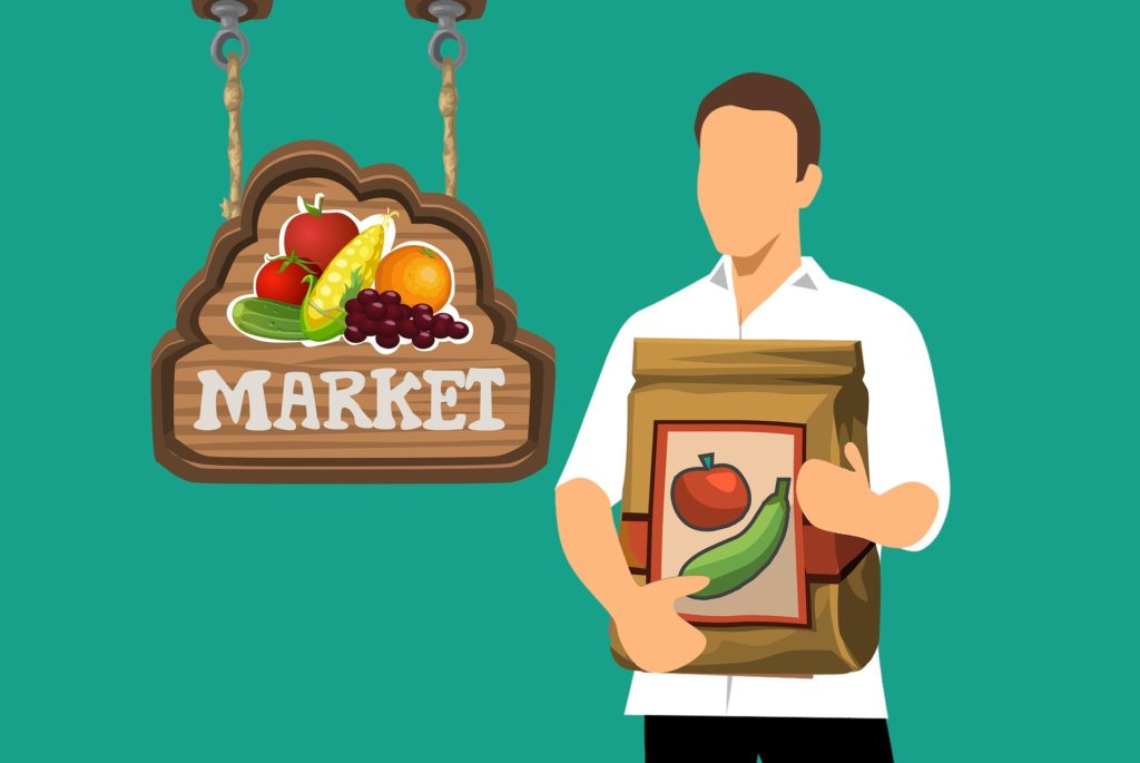 man with healthy food shopping bag