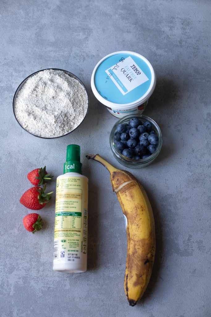 ingredients for banana blueberry pancakes
