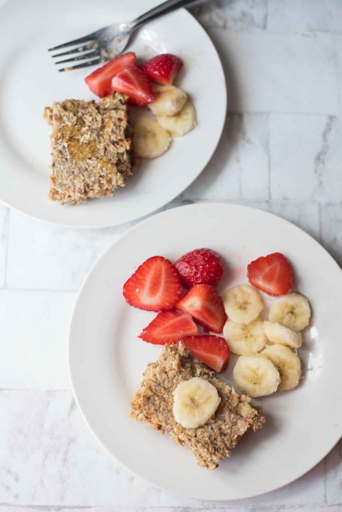 2 servings of peanut butter banana baked oatmeal with bananas and strawberries
