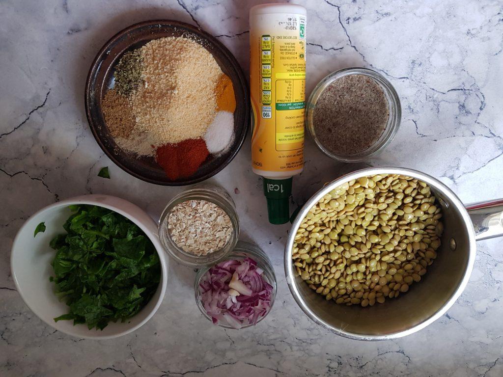 Ingredients for vegan spinach lentil meatballs recipe