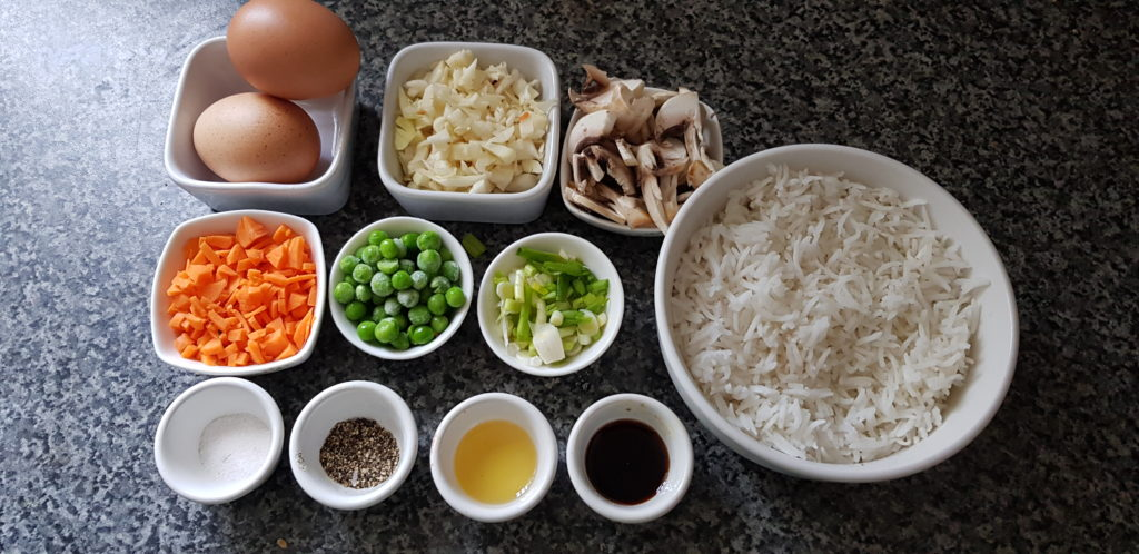 ingredients for healthy fried rice - rice,vegetables, salt, pepper, oil,soy sauce