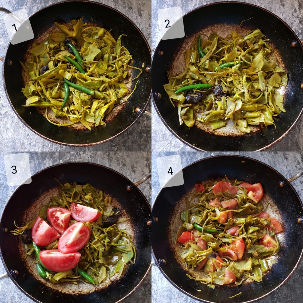 step by step picture for sauteeing ridge gourd peels, tomatoes