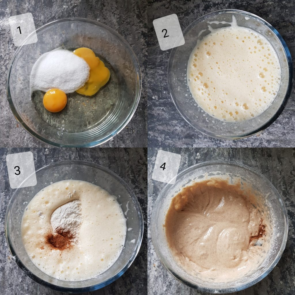 a series of steps showing preparing batter for apple muffins