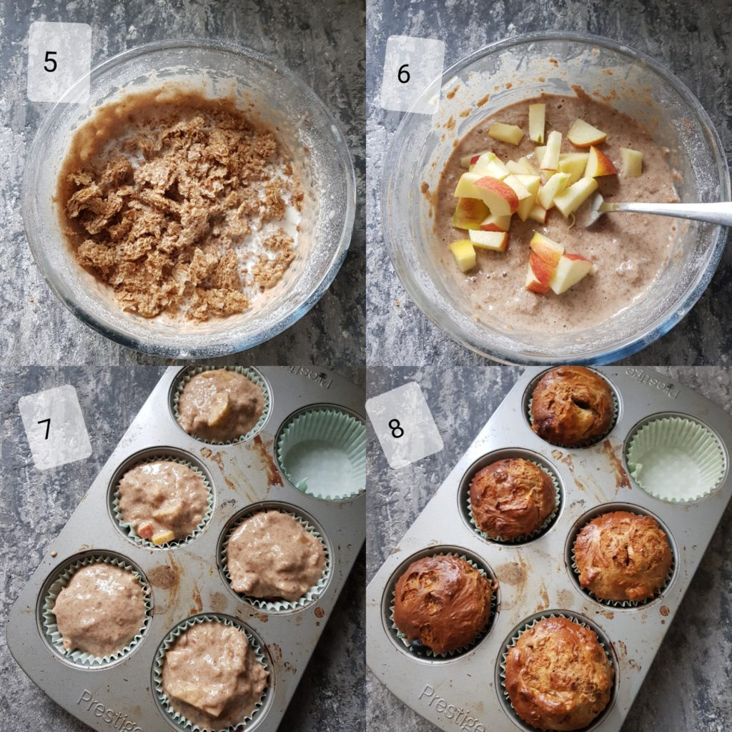 a series of steps showing making apple muffins batter
