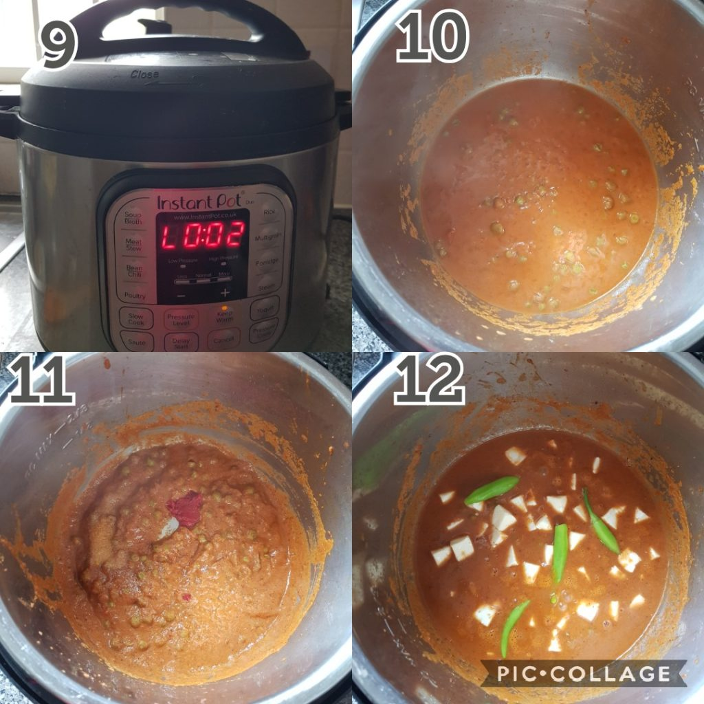 a series of photos showing step by step instructions of making matar paneer