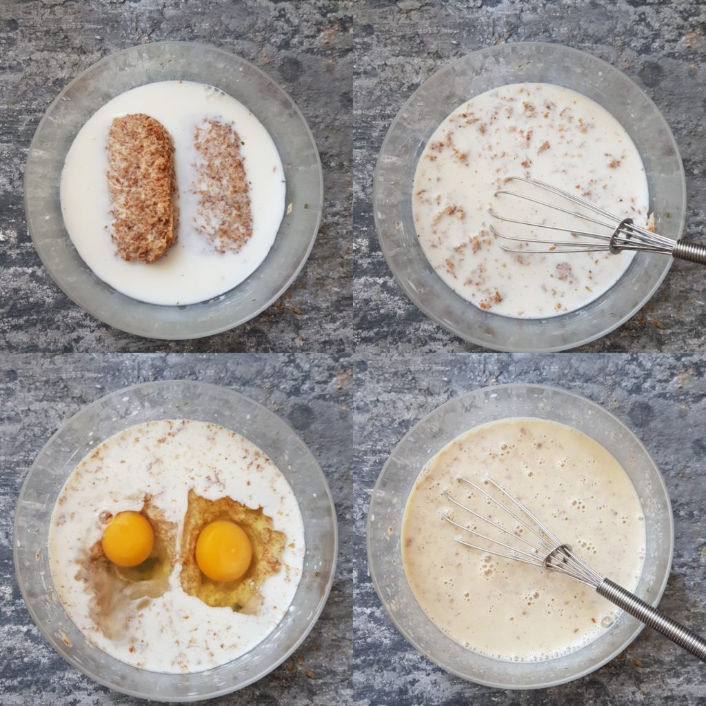 weetabix, milk, eggs in a bowl with whisker