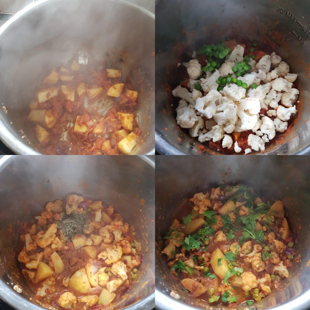 a series of photos showing the process of making aloo gobi