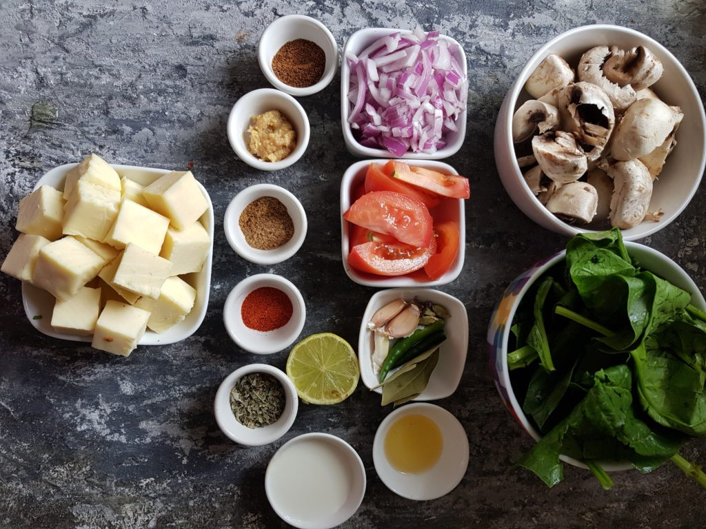 ingredients for making mushroom palak paneer