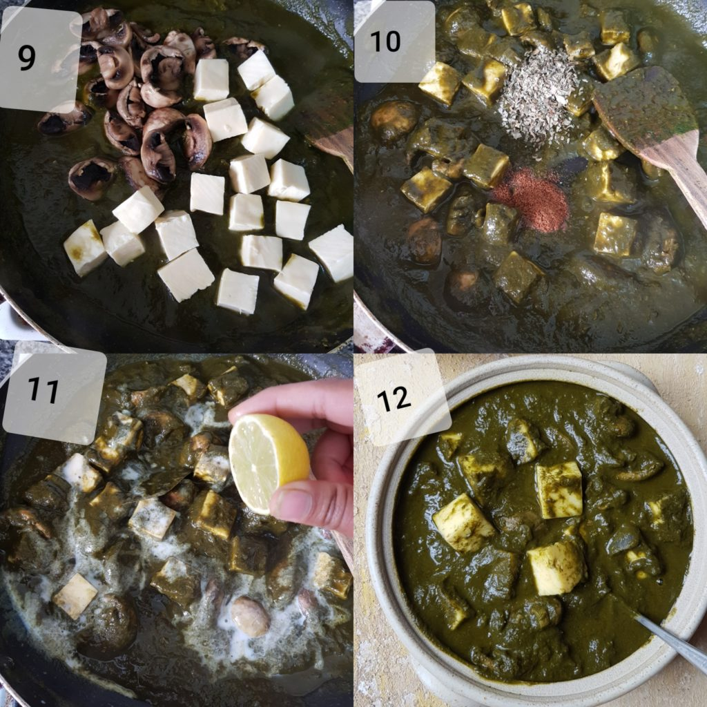 a series of photos demonstrating adding paneer, mushrooms,milk, lemon juice for making mushroom palak paneer recipe