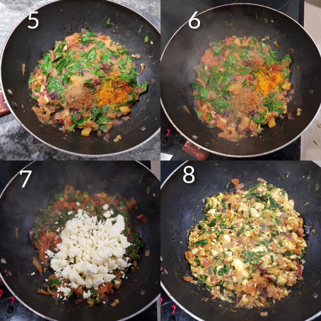 step by step process shots #2 for methi paneer bhurji