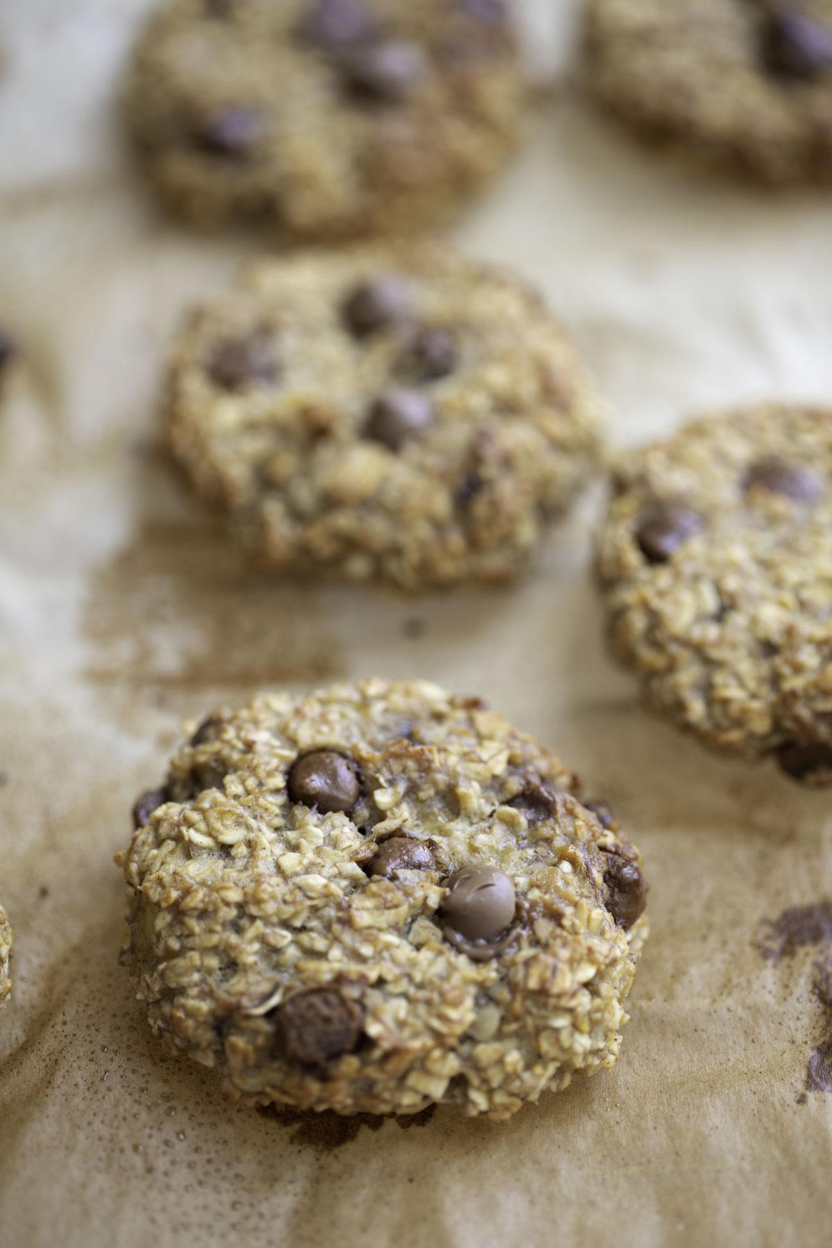 a closeup look of  banana oatmeal breakfast cookies