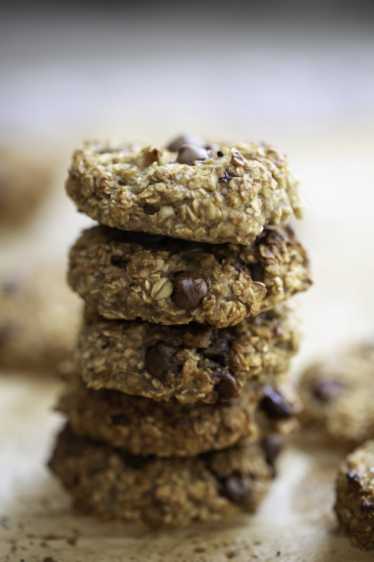 a stack of banana oatmeal breakfast cookies