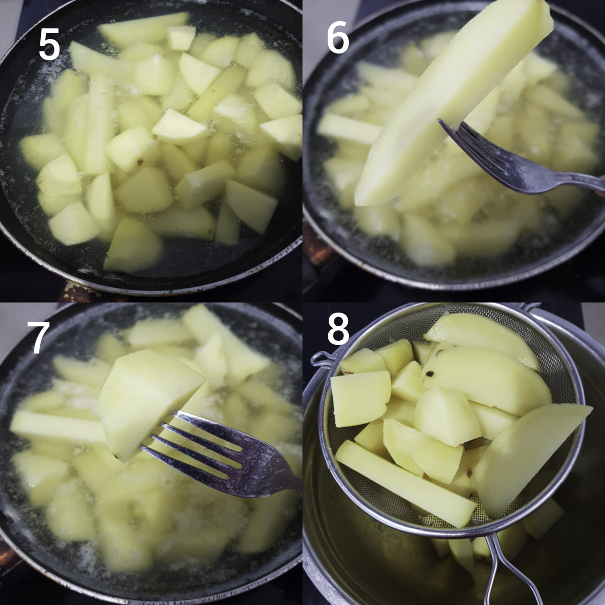 step by step instructions  collage for parboiling and testing potatoes