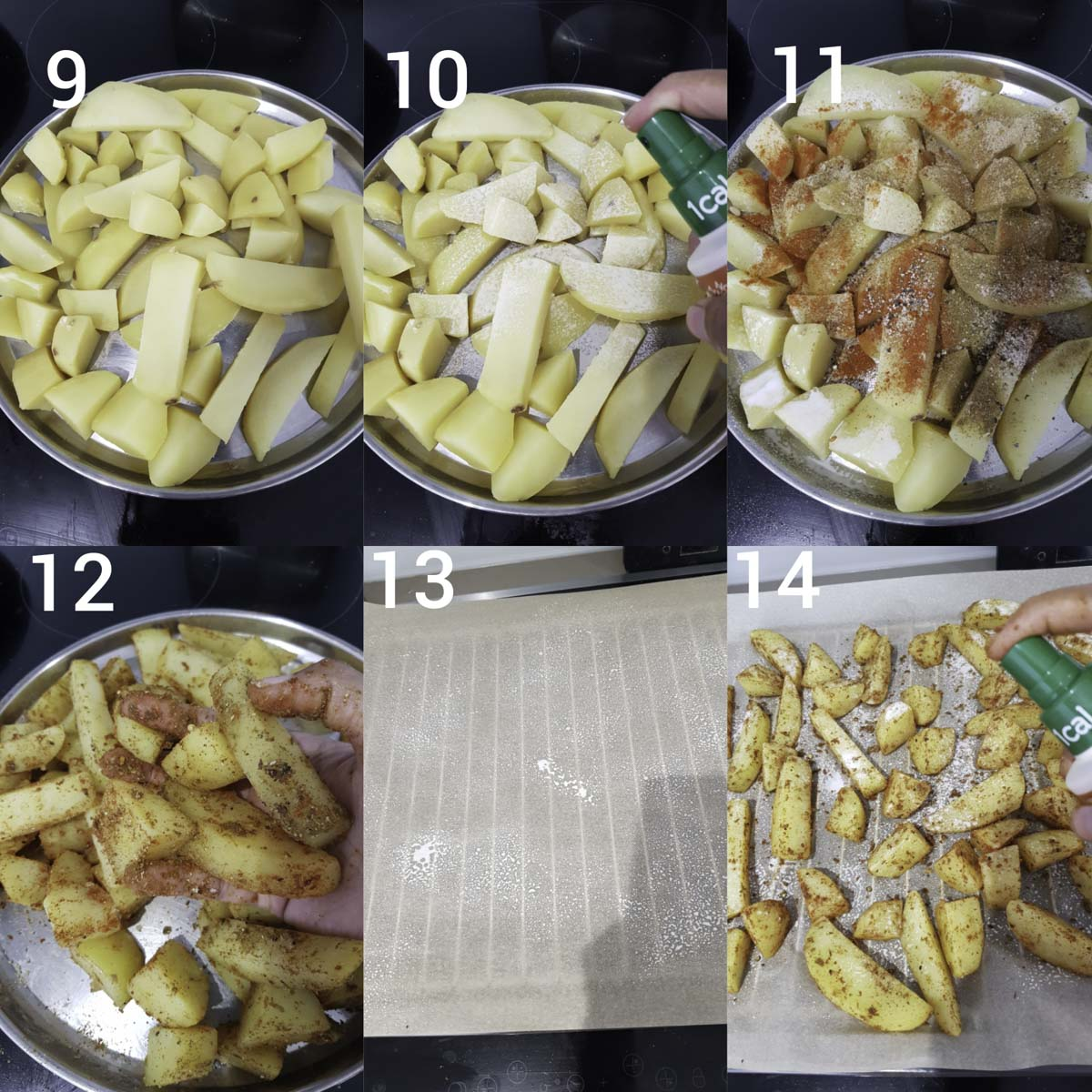 step by step instructions  collage for coating the potatoes with Moroccan spices and oil, arranging them in baking the potatoes