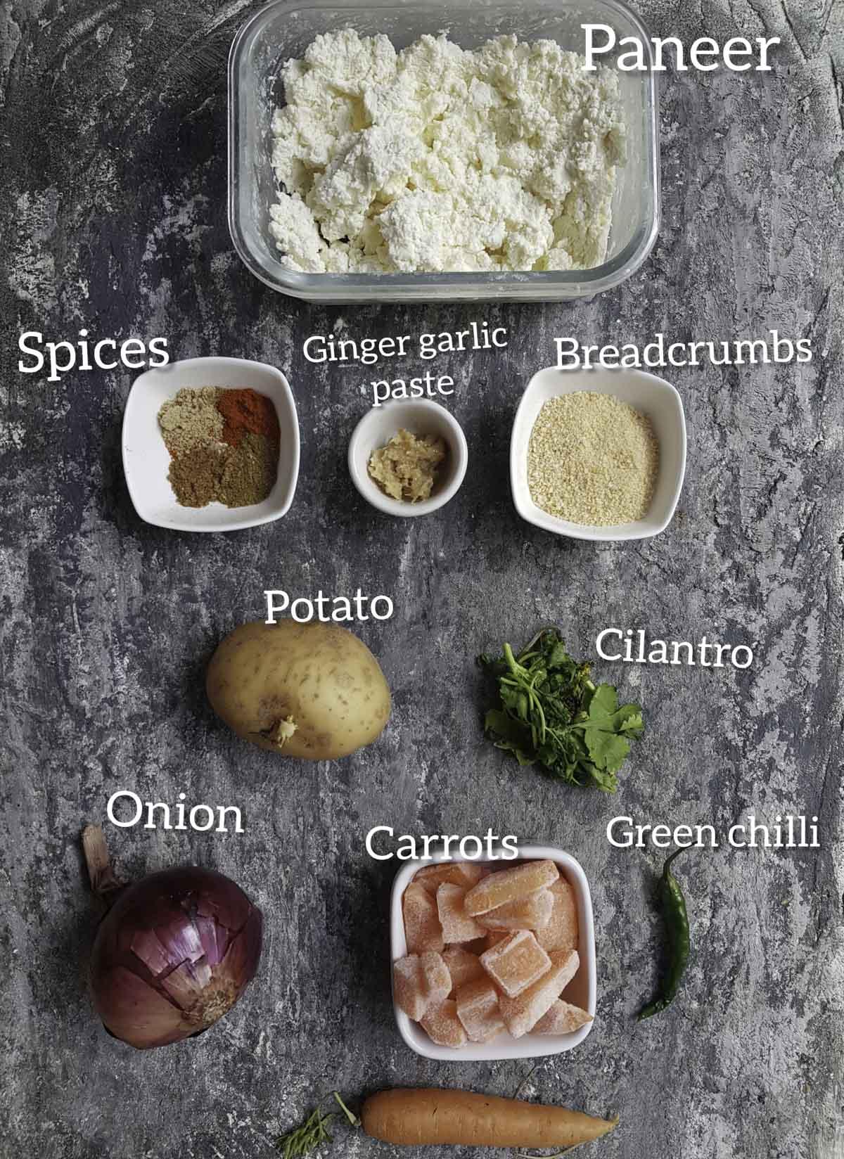 ingredients for making paneer cutlet , paneer, veggies,spices, ginger garlic paste