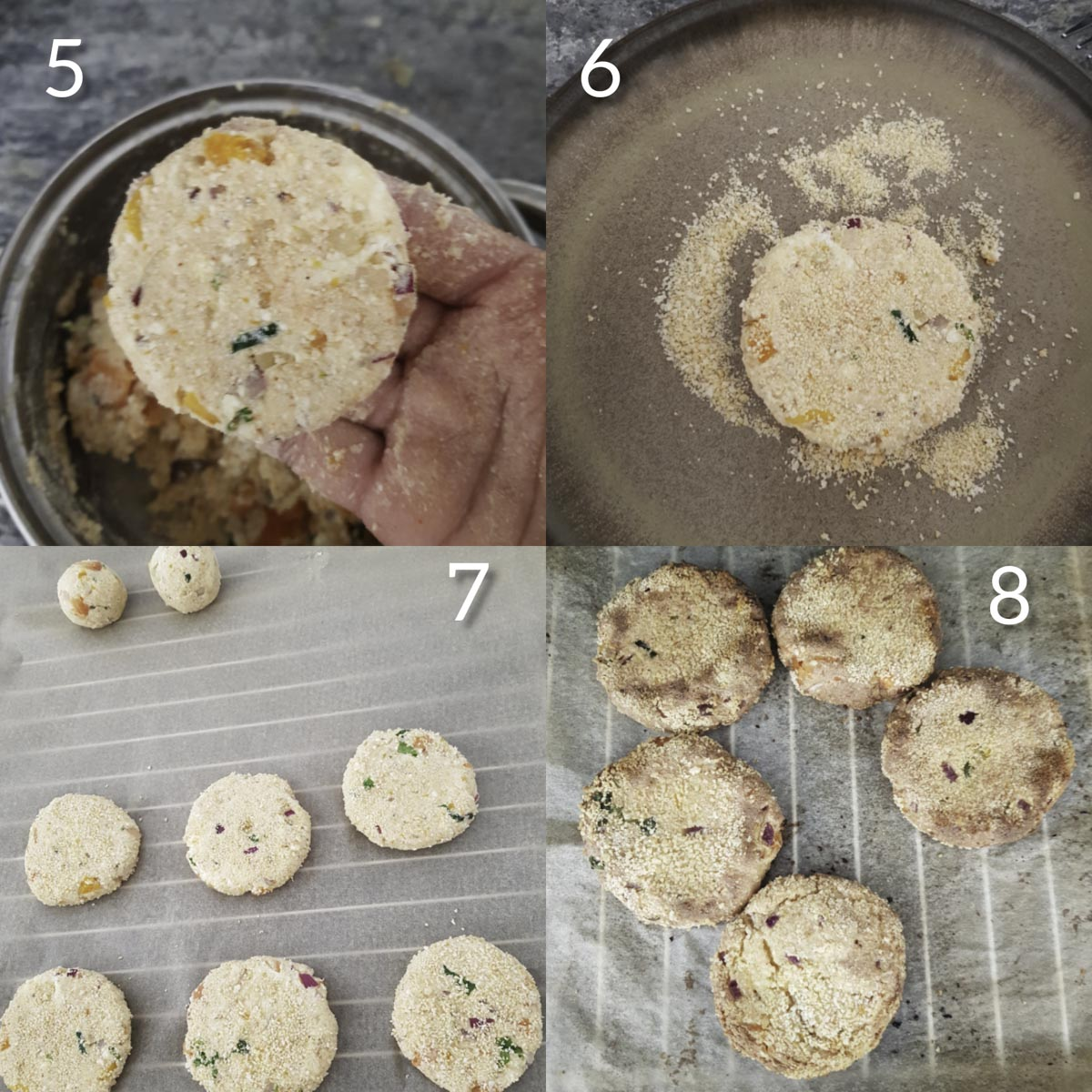 a collage of steps to roll and bake paneer cutlets