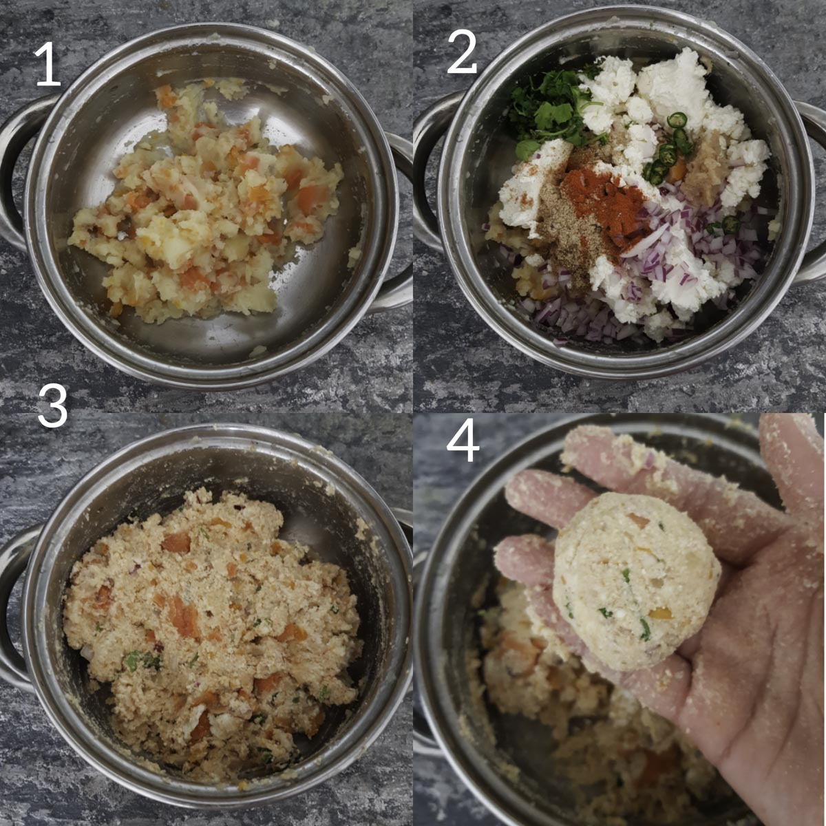 a collage of steps to make baked paneer cutlet