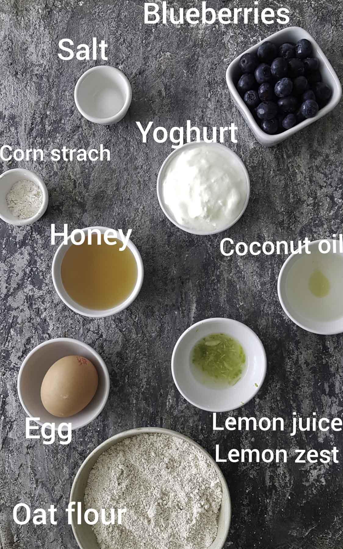 ingredients - blueberries, oatflour,oil,honey,lemon juice,egg, salt