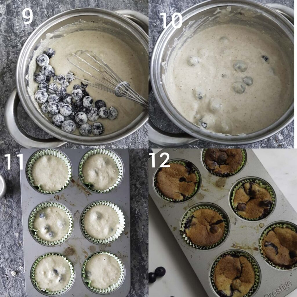 a collage of making blueberry muffin batter and batter scooped into lined tray and the baked muffins