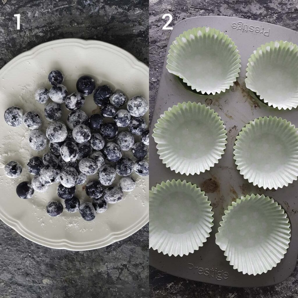 a collage of  corn starch coated blueberries and  line muffin tray