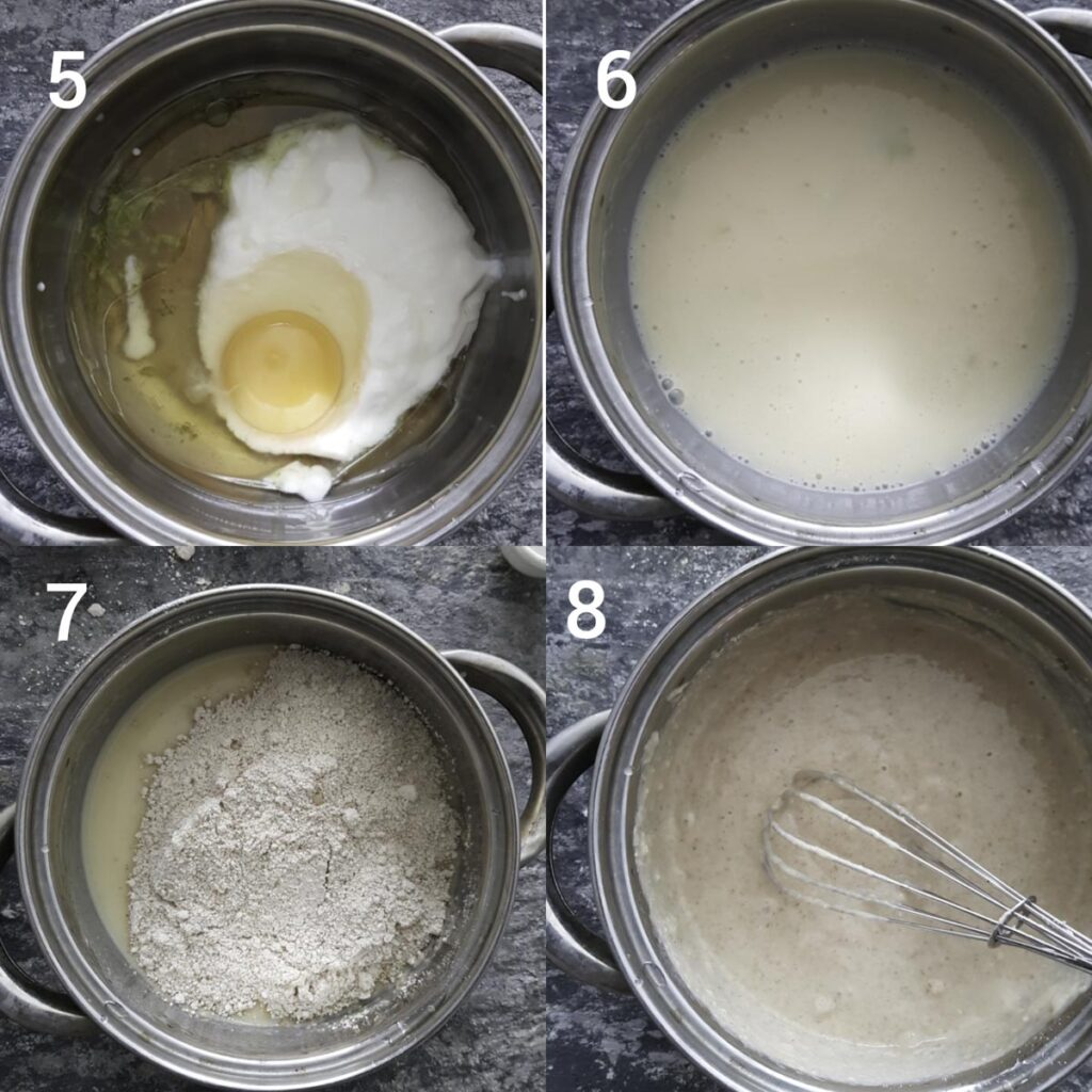 a collage of steps for making blueberry muffin batter