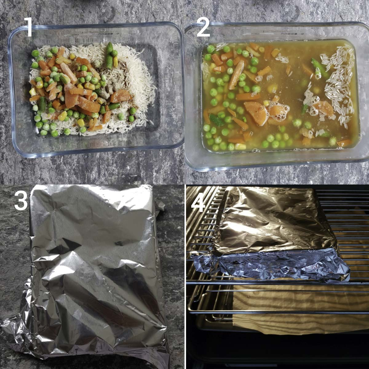 a collage of process steps for making baked fried rice