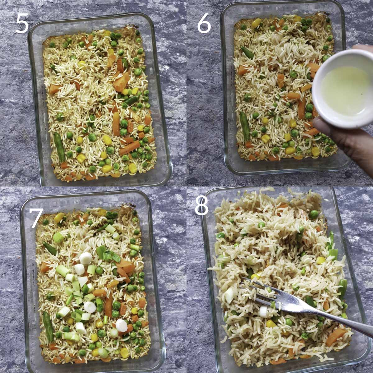 another collage of process steps for making and testing baked fried rice