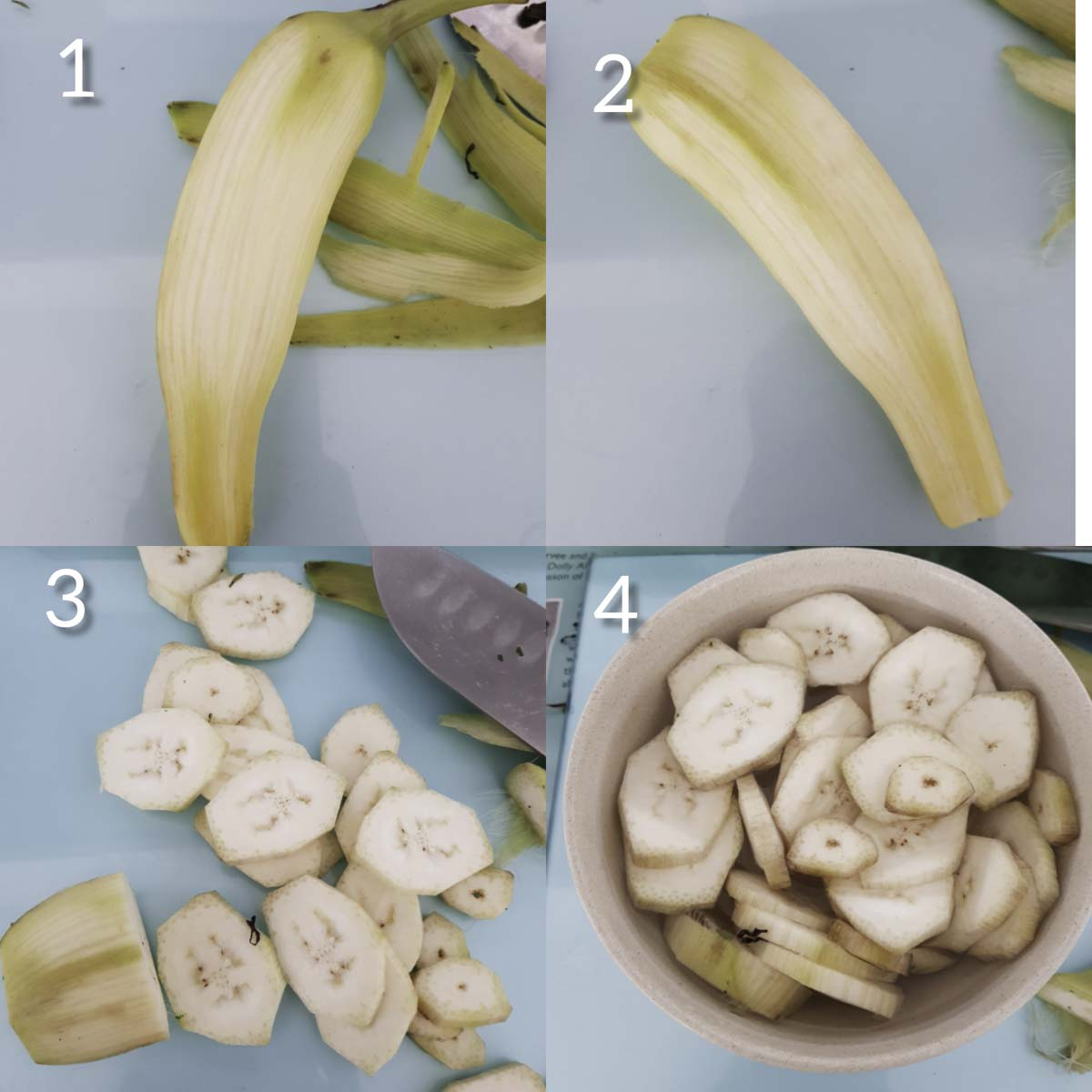 a collage of steps showing peeling ,slicing raw banana