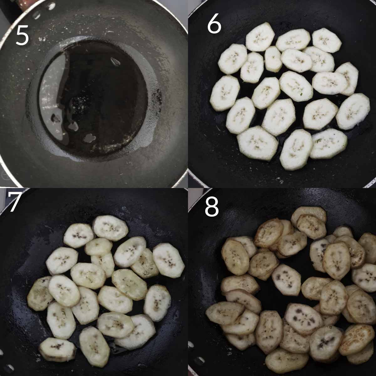 a collage of steps showing stir frying raw banana slices
