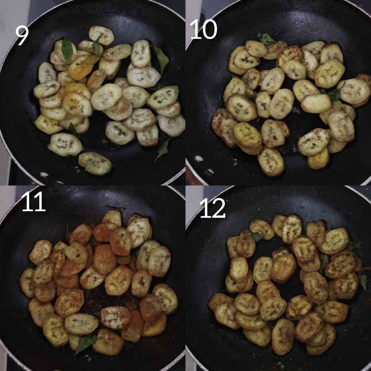 a collage of steps showing seasoning fried raw banana slices