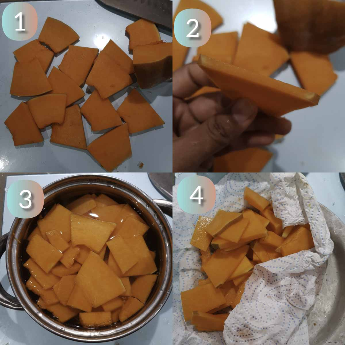 a collage showing how to slice pumpkin into thin slices