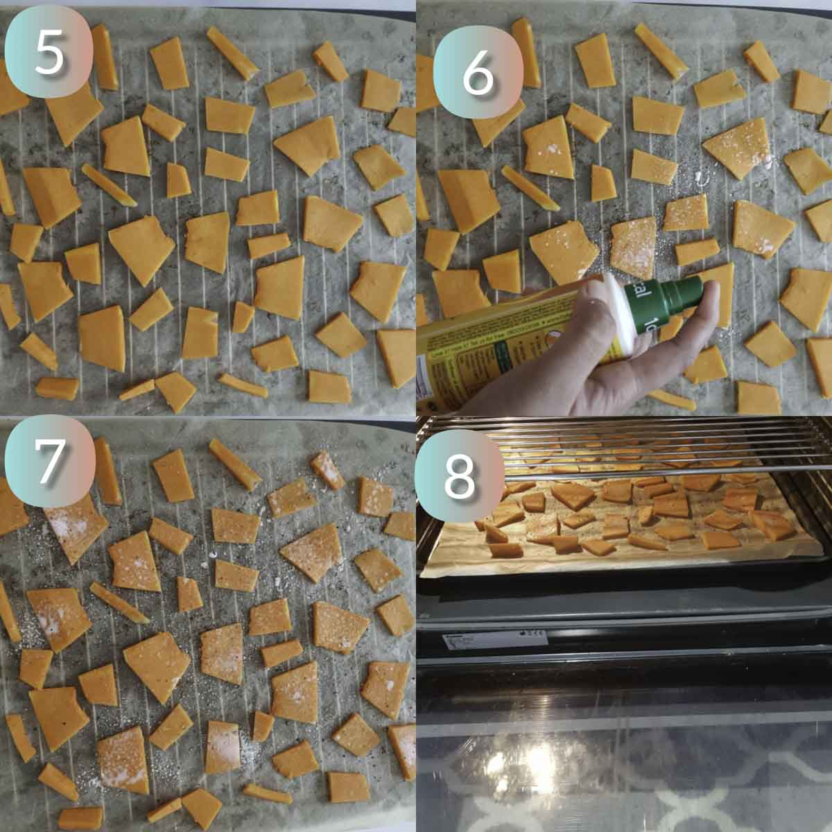 a collage showing lining pumpkin chips on a baking tray for baking
