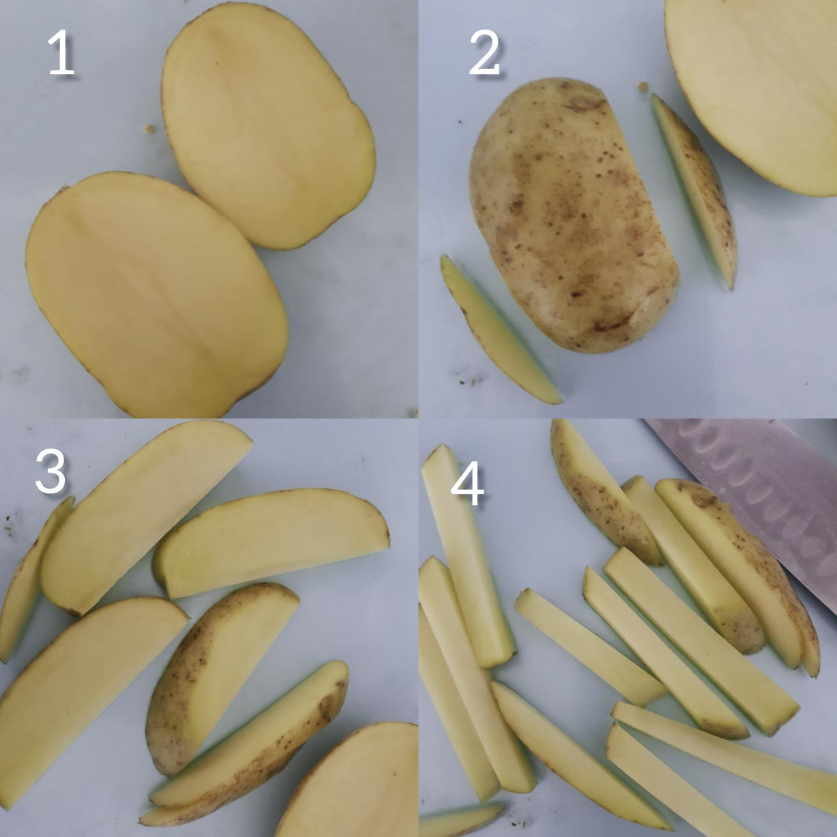 a collage of steps showing how to cut potatoes into fries