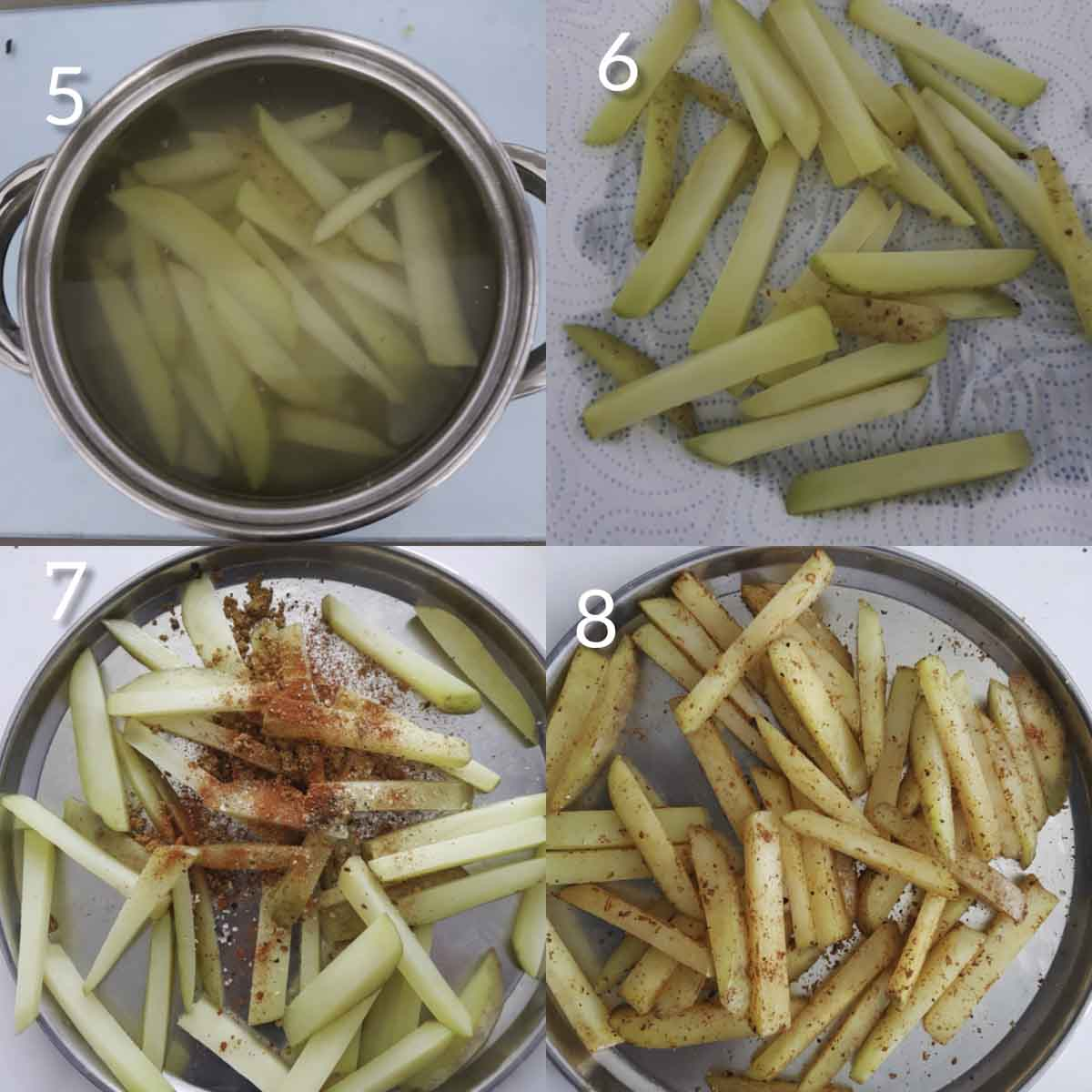 a collage of steps showing how to coat spices to the par boiled fries