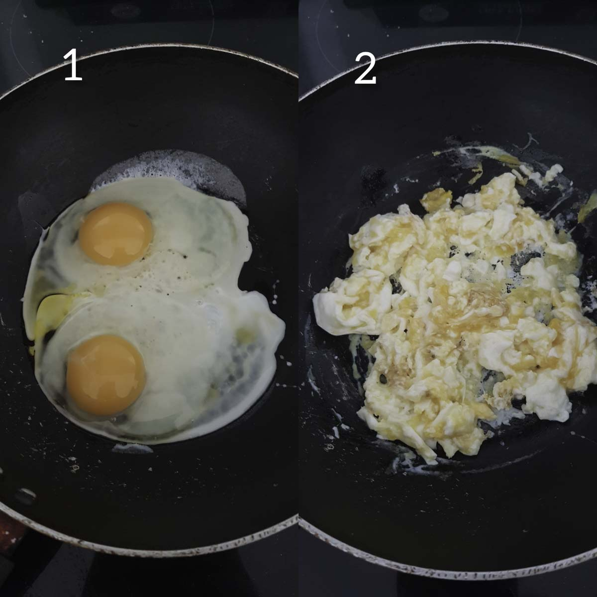 collage of steps showing cracking eggs and scrambling them