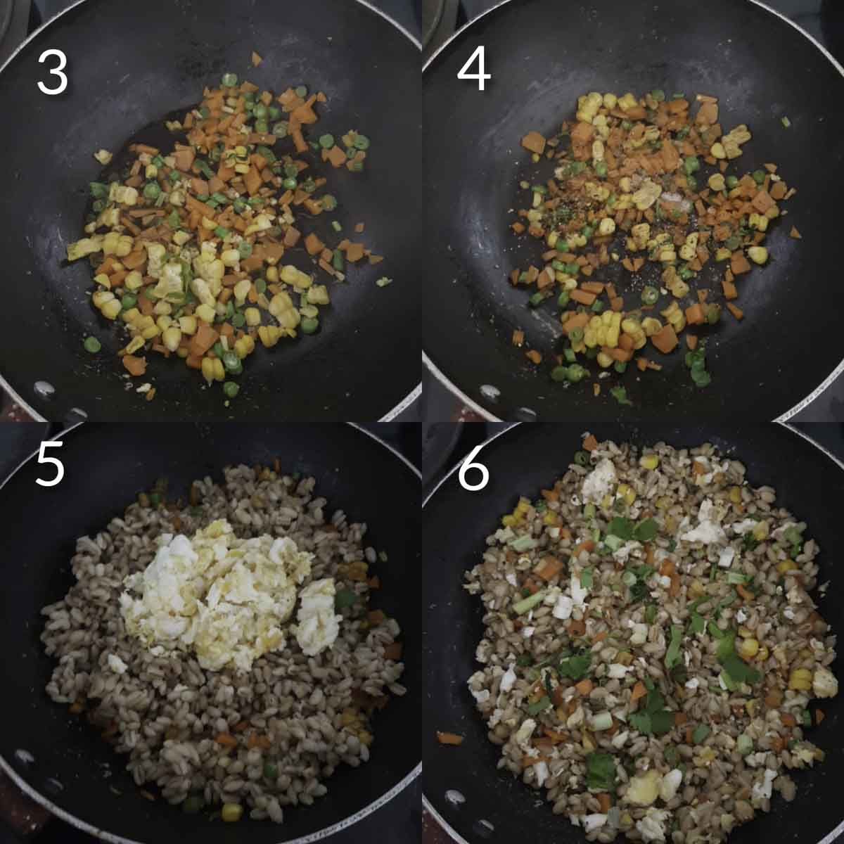 a collage of steps showing sautéing veggies and making barley egg fried rice